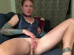 8 min - Tattooed sweetie drills her vagina with a dildo